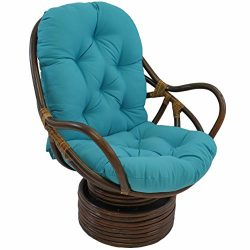 Blazing Needles Solid Twill Swivel Rocker Chair Cushion, 48″ x 24″, Aqua Blue