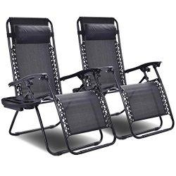Giantex 2 PCS Zero Gravity Chair Patio Chaise Lounge Chairs Outdoor Yard Pool Recliner Folding L ...