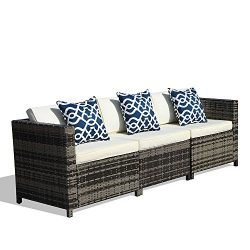 PATIOROMA 3 Piece Cushioned Outdoor Furniture Garden Patio Conversation Set with Cream White Cus ...