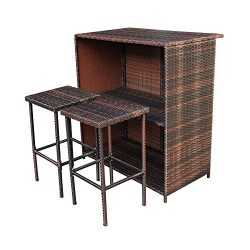 Summer 3pc Patio Bar Set Outdoor Backyard Wicker Bar Stool And Table With 2 Storage Shelves For  ...