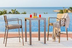 Solaura Outdoor Polywood Bar Height 3-Piece Bistro Set All Weather Steel Powder Coated Frame wit ...