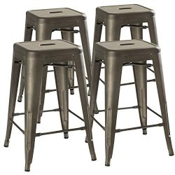 UrbanMod 24″ Counter Height Bar Stools,! (RUSTIC GUNMETAL) by, [Set Of 4] Stackable, Indoo ...