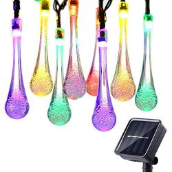 Icicle Solar String Lights, 24.6ft Solar Outdoor Lights with 40 Waterproof LED, 8 Modes Decorati ...