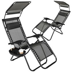 Set of 2 Zero Gravity Outdoor Lounge Chairs w/Sunshade + Cup Holder with Mobile Device Slot Adju ...