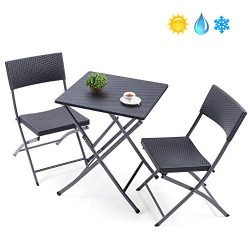 TAVR Outdoor PE Rattan Furniture Foldable Patio Square Table and Chairs, Small Garden 3-piece Bi ...