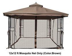 ALISUN Universal 12′ x 12′ Gazebo Mosquito Netting (Brown)