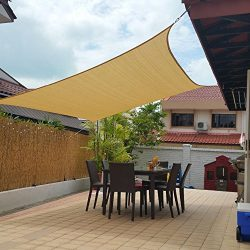 WONDERHOO Sun Shade Sails Rectangle Beige Canopy Cover Awning for Patio GardenOutdoor Facility a ...