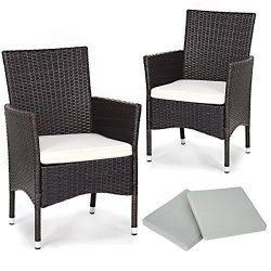 TANGKULA 2 Pcs Patio Armchair Rattan Single Chair Set Outdoor Modern Wicker Rattan PE Furniture  ...