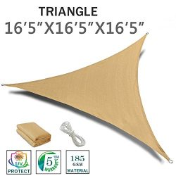 "SUNNY GUARD 16'5"" x 16'5"" x 16'5"" Sand Triangle Sun Shade Sa ..."