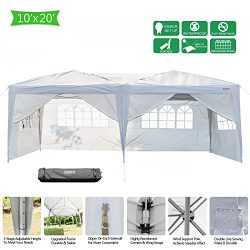 VINGLI Heavy Duty 10'x20′ Ez Pop Up Canopy Tent with 6 Removable Sidewalls Panels,Fo ...