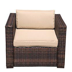 PATIOROMA Single Chair,Outdoor Patio Furniture All Weather Brown Rattan Wicker Sofa Chair,Additi ...