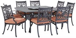 Darlee St. Cruz Cast Aluminum 10-Piece Dining Set with Seat Cushions, 64-Inch Square Dining Tabl ...