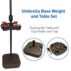 EasyGoProducts Umbrella Base Weight and Table Set, Plastic Universal Weighted Stand Water or San ...