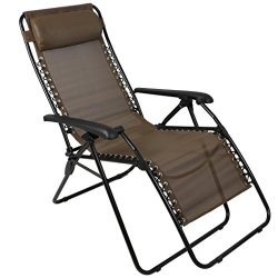 PORTAL Zero Gravity Chair Patio Lawn Reclining Lounge Chair, Brown