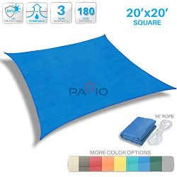Patio Paradise 20′ x 20′ Blue Sun Shade Sail Square Canopy – Permeable UV Bloc ...