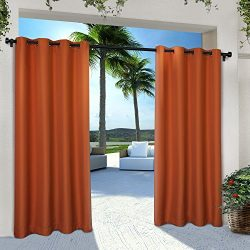Exclusive Home Curtains Indoor/Outdoor Solid Cabana Grommet Top Window Curtain Panel Pair, Mecca ...