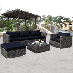 TANGKULA 6PC Patio Furniture Set Outdoor Garden Backyard Poolside All Weather PE Rattan Wicker S ...