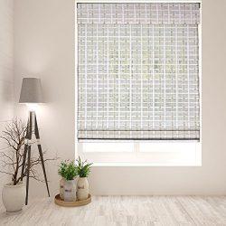 Arlo Blinds Cordless Whitewash Bamboo Roman Shade – Size: 40″ W x 60″ H, Innov ...