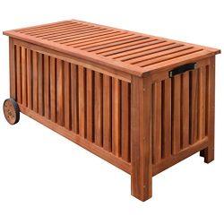 Festnight Garden Deck Storage Container Cushion Box Outdoor Patio Furniture with 2 Wheels, Wood, ...