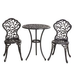 Sunjoy Vinely 24″ x 24″ x 28.3″ Black Cast Iron and Cast Aluminum Bistro Set