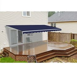 ALEKO AWM12X10BLUE30 Retractable Motorized Patio Awning 12 x 10 Feet Blue