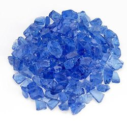 American Fireglass Light Blue Recycled Fire Pit Glass – Medium (18-28Mm), 10 lb. Bag