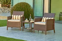 Solaura Outdoor Furniture 3-Piece Bistro Set All Weather Brown Wicker with Light Brown Waterproo ...