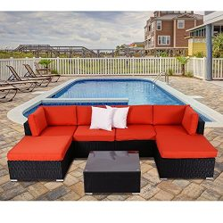 Kinbor 7 PCS Patio Sectional Sofa Furniture Set Wicker Rattan Outdoor Conversation Sets With Cus ...