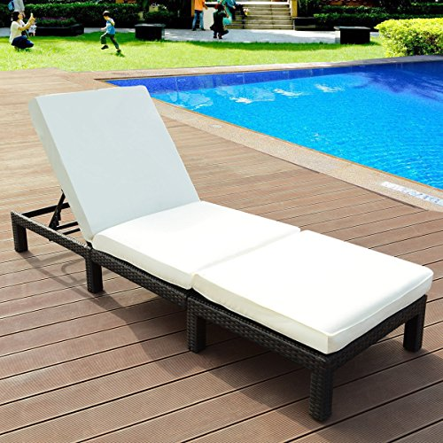 Tangkula Patio Reclining Chaise Lounge Outdoor Beach Pool