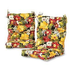 Greendale Home Fashions Outdoor High Back Chair Cushion (set of 2), Aloha Black