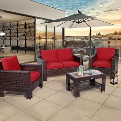 Diensday Outdoor Furniture Fully Woven 4-Piece Conversation Set All Weather Brown Wicker Deep Se ...