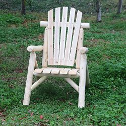 KdGarden Cedar/Fir Log Patio Adirondack Chair – Comfy Wood Lounge Chair for Outdoor Yards, ...