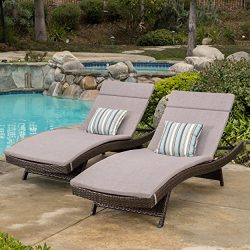 Salem Outdoor Brown Wicker Adjustable Chaise Lounge with Charcoal Colored Cushions (Set of 2) by ...