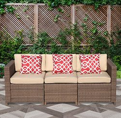 PATIOROMA 3-Seater Seating Patio Furniture Sofa All-Weather Brown PE Wicker Furniture with Beige ...