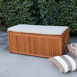 Natural Wood Finish Eucalyptus Outdoor Deck Storage Box Bin Patio Storage Bench Seat With Natura ...