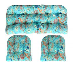 RSH Decor 3 Piece Wicker Tufted Cushion Piece Set ~ Blue, Peach, White, Cream, Orange, Coral, Re ...