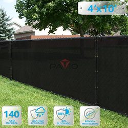 Patio Paradise 4′ x 10′ Black Fence Privacy Screen, Commercial Outdoor Backyard Shad ...