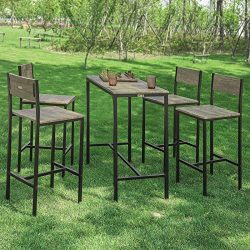 Haotian Sling High Bistro Set,Home Kitchen Outdoor Garden Bar Set,Patio Furniture, Dining Set (O ...