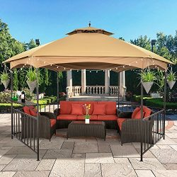 LCH 11.4 ft x 13.2 ft Outdoor Gazebo Hex Soft Top Patio Canopy Shelter, Heavy duty, Commercial w ...