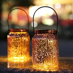 Sunwind Solar Mercury Glass Mason Jars – 2 Pack Bronze Table Lamp Hanging Outdoor Lights f ...