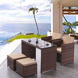 BaoChen Outdoor Patio Dining Set – Wicker Furniture Set Cushioned Seat Garden Sectional Co ...