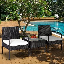 Leisure Zone 3 Piece Rattan Wicker Patio Furniture Sets Bistro Sets with Beige Cushion (28.7 Inch)