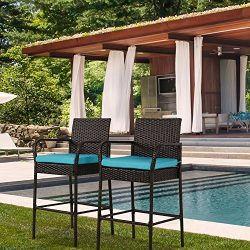Peach Tree 2PCs Outdoor Wicker Bar Height Chair Set, All Weather Patio Furniture Rocker Rattan D ...
