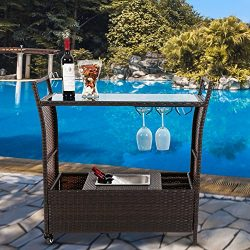 Kinbor Outdoor Patio Rattan Wicker Serving Bar Cart Rolling Portable W/Ice Bucket Wine Rack