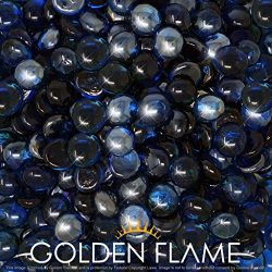 """Golden Flame 10-Pound Fire Glass """"Fire-Drops"""" 1/2-Inch Deep Pacific Blue Reflective"""