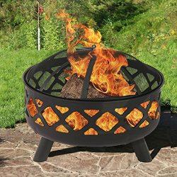 BestMassage 25″ Fire Pit Portable Outdoor Firepit Wood Fireplace Heater Patio Deck Yard