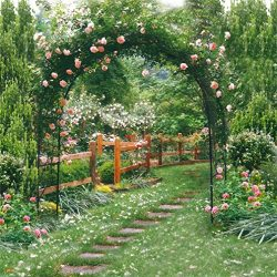 AOFOTO 8x8ft Wedding Backdrops Photography Background Romance Garden Path Beautiful Flowers Perg ...