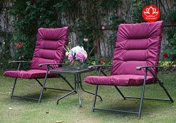 Kozyard Elsa 3 Pieces Outdoor Patio Furniture Padded Folding Sets for Yard, Patio, Deck or Backy ...