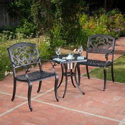 Ariel | 3 Piece Cast Aluminum Outdoor Bistro Set | with Ice Bucket | Perfect For patio | in Shin ...