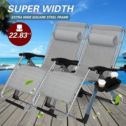 "22.8"" Oversized Width Seat 350LBS Capacity Set of 2 Pack Zero Gravity Outdoor Lounge Chair w/Cup ..."